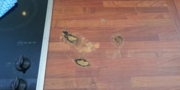 pan burn worktop repair