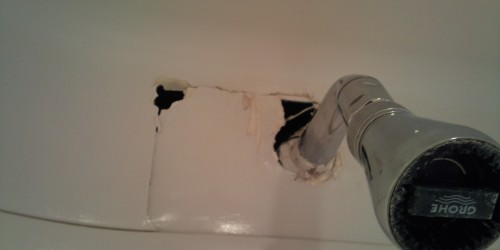 CRACKED CHIP SCRATCH MOULD MARKS REPAIRED BATHROOM POD MODULAR REPAIRS