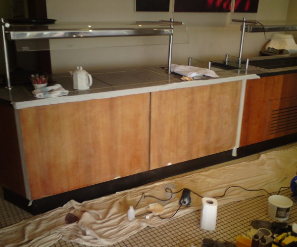 food counter refurbishments chipped scratched laminated panel repairs food stained