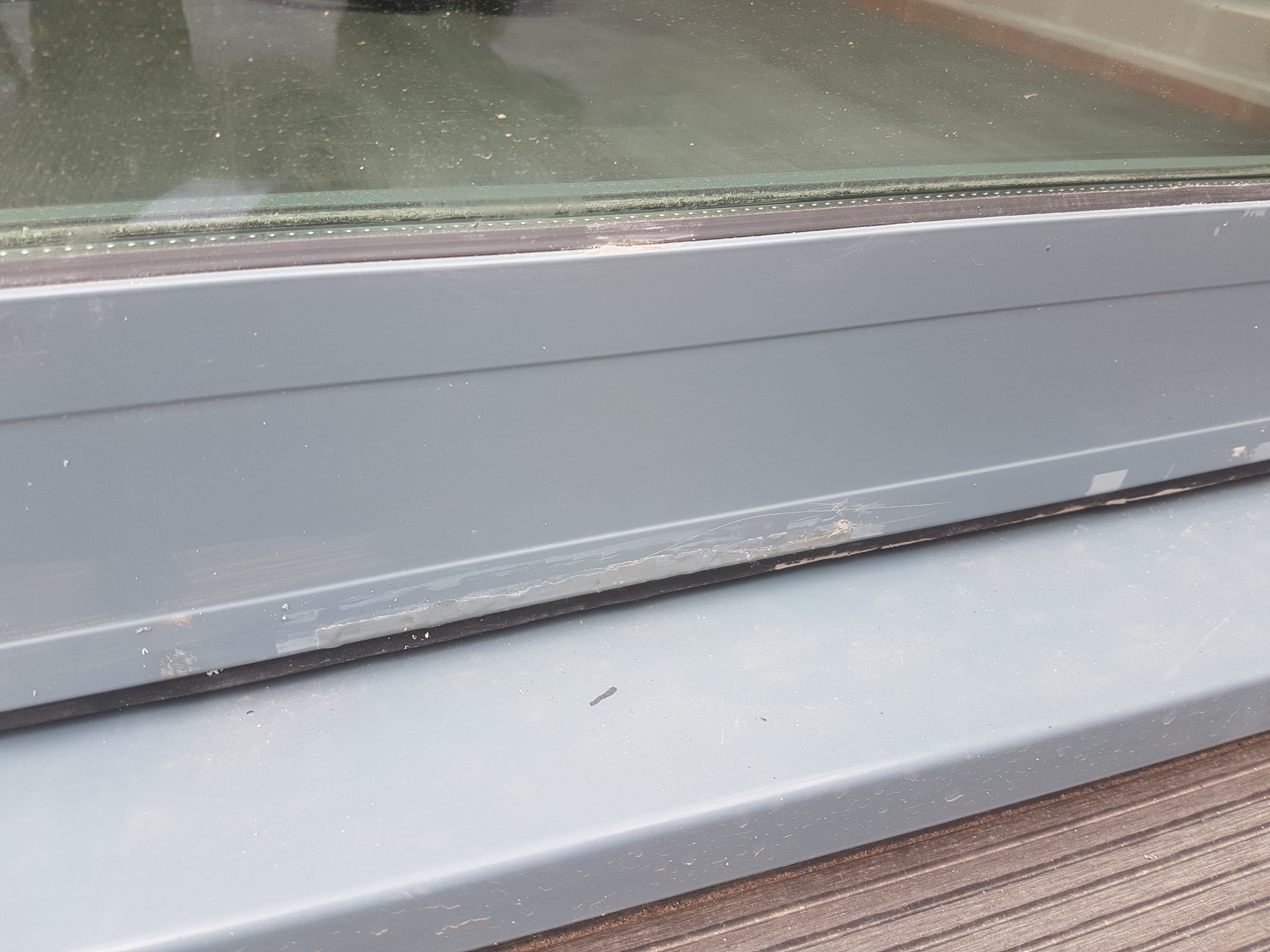 damaged window frame scratched scratches dent chip faded paint repair refurb powder coated window frame repair - Window Frame Repair