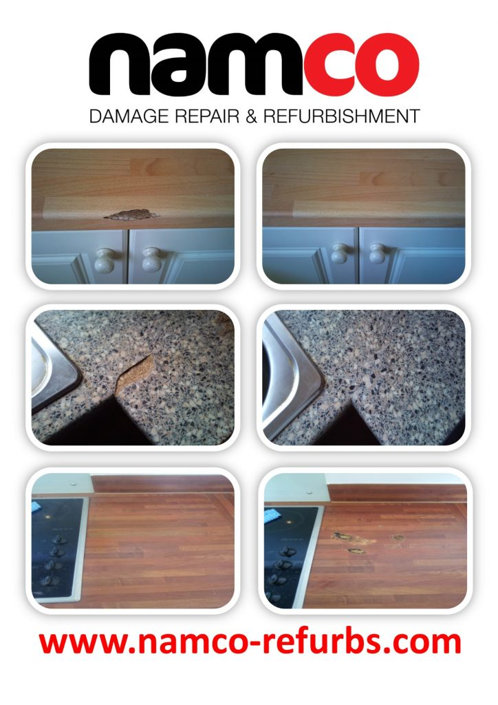 WORKTOP CHIP DENT SCRATCH PAN BURN WATER DAMAGE BLOWN WORKTOP JOINT REPAIR REFURBISHMENT CRACKED SWOLLEN