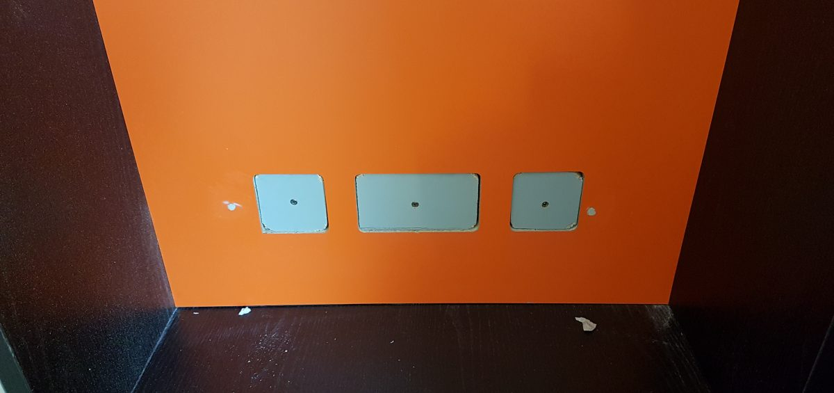 LAMINATED PANEL SOCKETS CUT OUT WRONG REPAIR COLOUR MATCH BEFORE