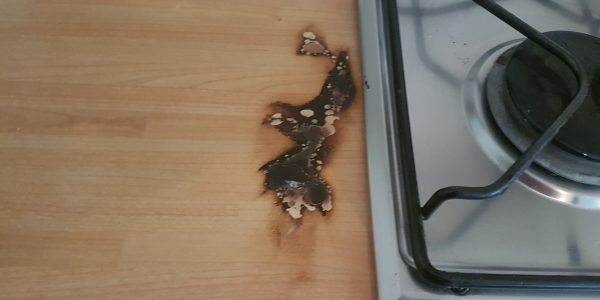 WORKTOP BURN MARK REPAIR SCRATCH CHIP DENT HEAT BLISTER PAN BURN REPAIRS