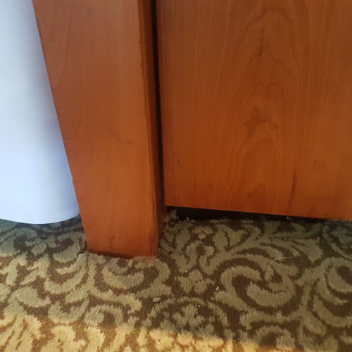 HOTEL FURNITURE REFURBISHMENT SCRATCH CHIP DENT FRENCH POLISHER REPAIR BREAKFAST COUNTER AFTER