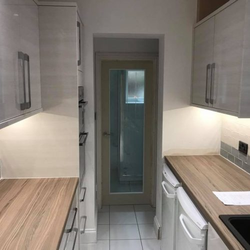 FITTED KITCHEN INSTALLATION DESIGN AND BUILD HALE HALE BARNES BOWDEN ALTRINCHAM MERE LYMM KNUTSFORD WARRINGTON CHESHIRE AFTER RIP OUT