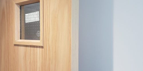 LAMINATED FIRE DOOR DAMAGE REPAIR CHIP SCRATCH DENT SCUFF BURN REPAIR FRENCH POLISHING AFTER