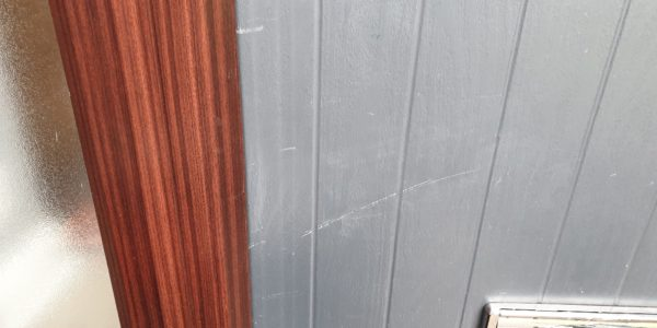 GREY COMPOSITE DOOR SCRATCH REPAIR MANCHESTER BEFORE