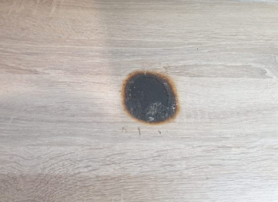 BADLY BURNT KITCHEN WORKTOP REPAIR BEFORE