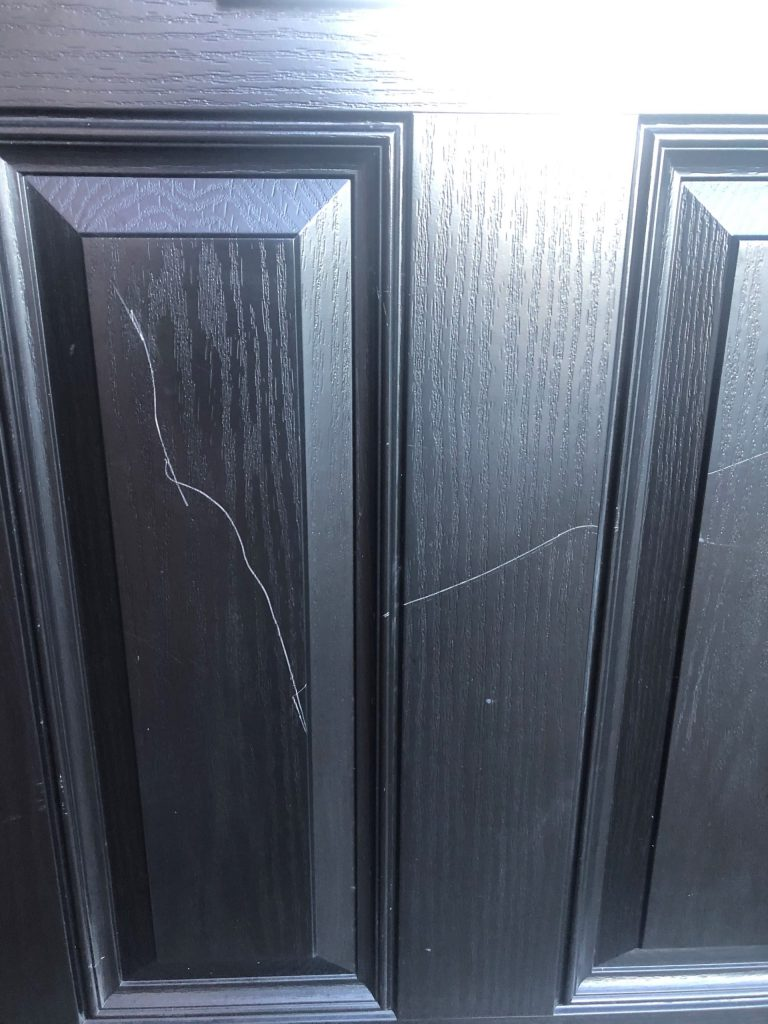 BADLY SCRATCHED BLACK COMPOSITE DOOR REPAIR RESPRAY BEFORE