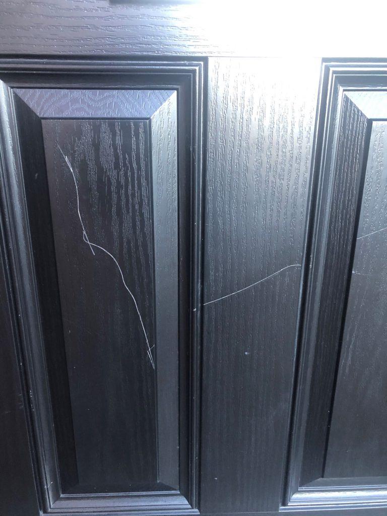BADLY SCRATCHED BLACK COMPOSITE DOOR REPAIR RESPRAY BEFORE