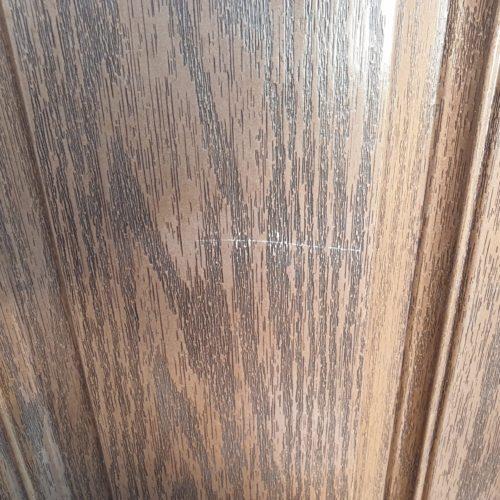 BADLY SCRATCHED WOOD GRAIN COMPOSITE DOOR REPAIR BEFORE
