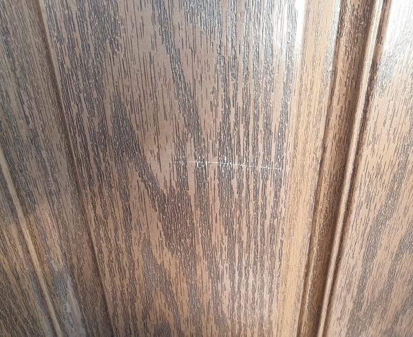 BADLY SCRATCHED WOOD GRAIN COMPOSITE DOOR REPAIR BEFORE
