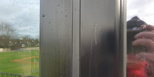 BADLY SCRATCHED BI FOLD DOOR FRAME REPAIRS BEFORE 2