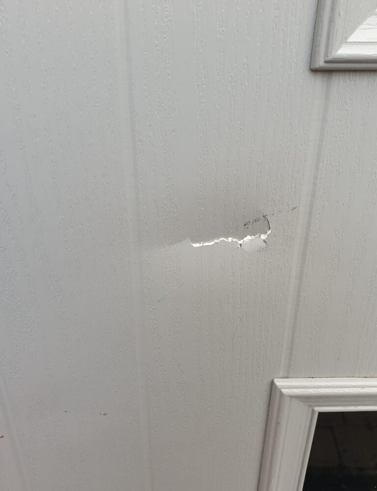 DENT ON COMPOSITE DOOR SCRACTH CHIP REPAIR BEFORE