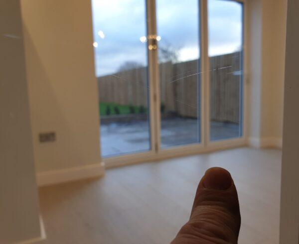 SCRATCHED INTERNAL DOOR GLASS REPAIR POLISHING BEFORE