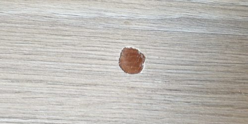 WOOD GRAIN TEXTURED WORKTOP PAN BURN HEAT BLISTER REPAIR BEFORE