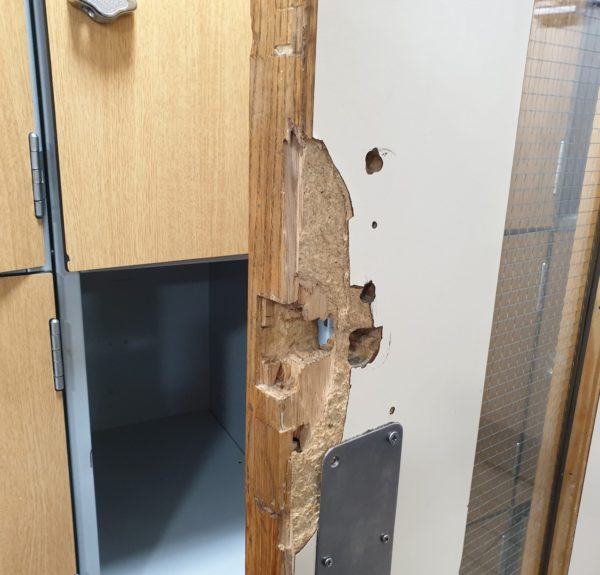 BADLY DAMAGED LAMINATE DOOR REPAIR BEFORE