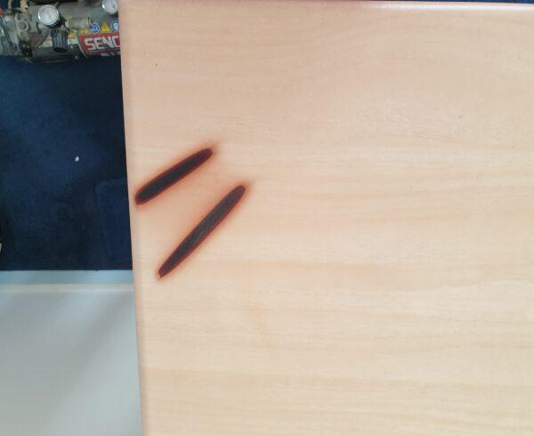 BEDROOM FURNITURE STRAIGHTENER BURN MARK CHIP SCRATCH DENT REPAIR MANCHESTER NAMCO REFURBS BEFORE