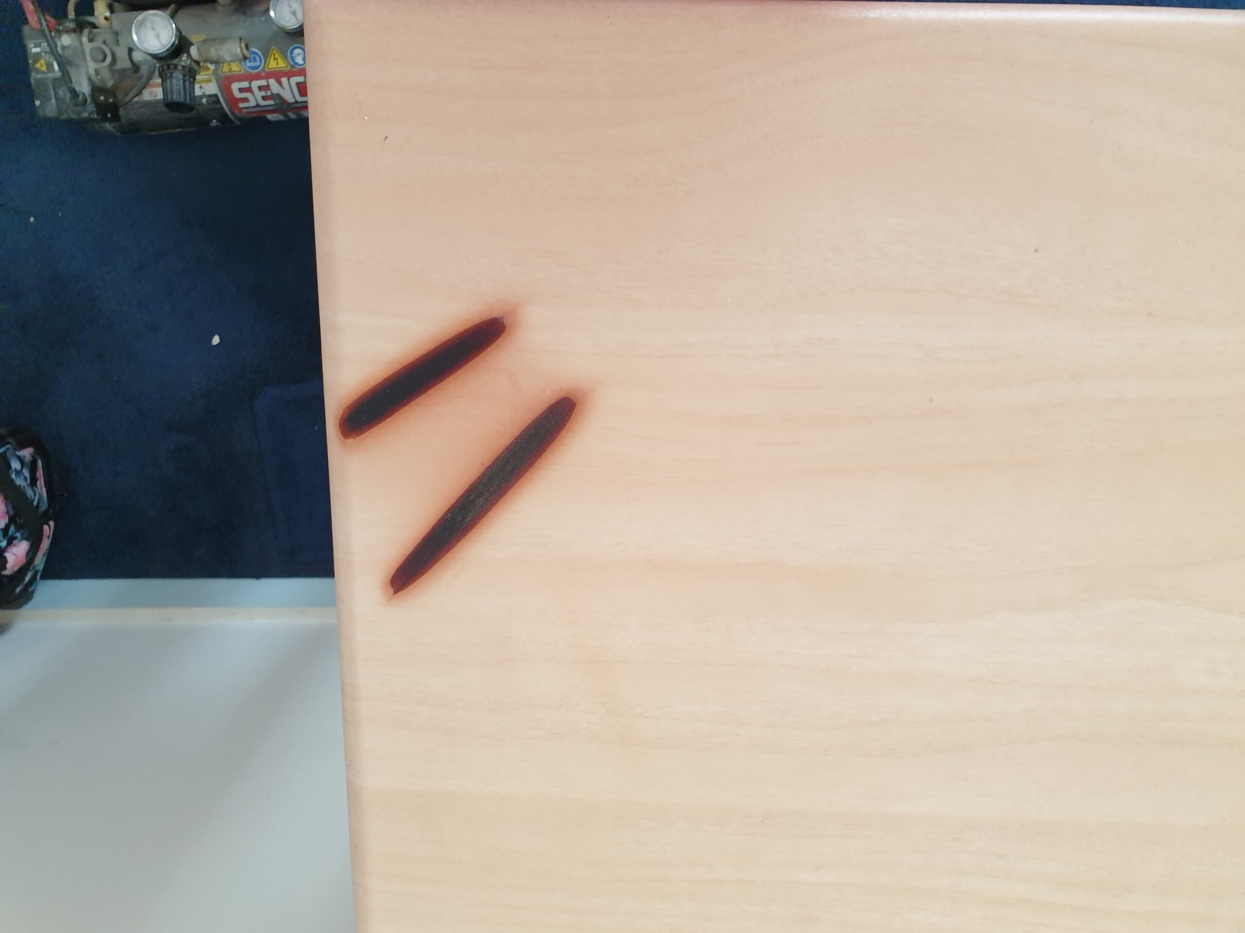 BEDROOM FURNITURE STRAIGHTENER BURN MARK CHIP SCRATCH DENT REPAIR MANCHESTER NAMCO REFURBS BEFORE