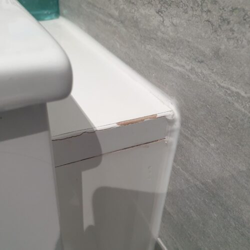 GLOSS BATHROOM CABINET CHIP SCRATCH WATER DAMAGE REPAIRS MANCHESTER BEFORE