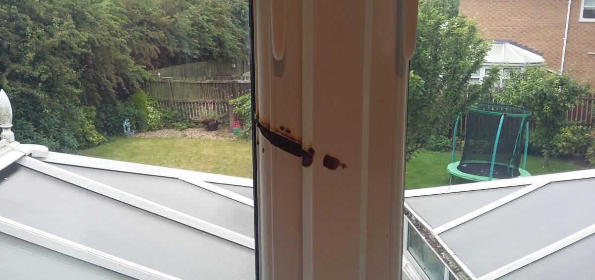 UPVC PLASTIC WINDOW FRAME BURN REPAIR BEFORE