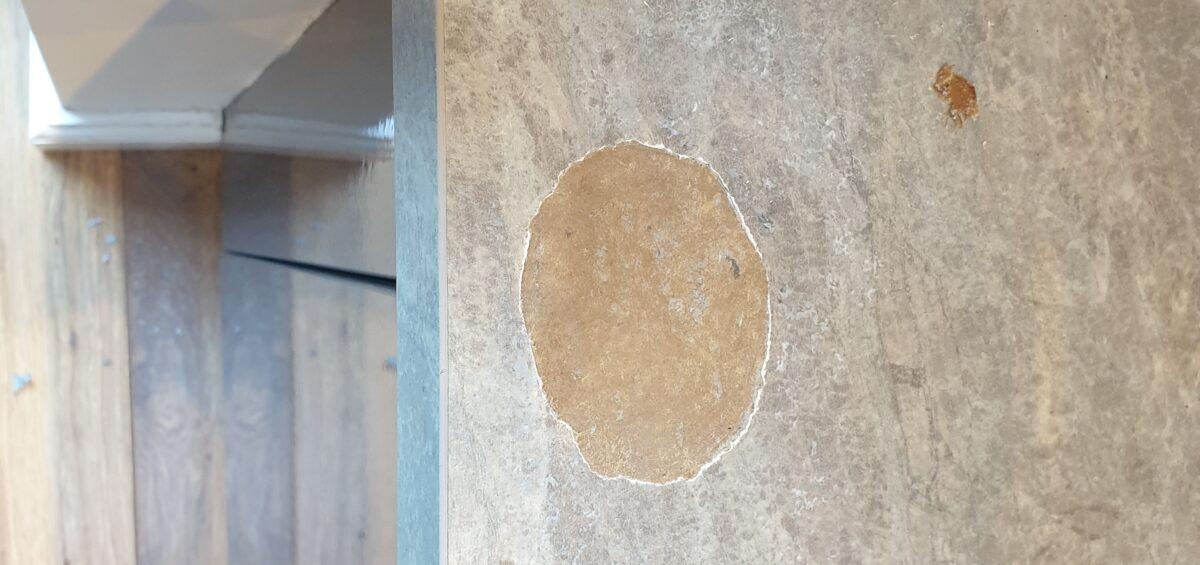 WORKTOP PAN BURN CHIP SCRATCH REPAIR MANCHESTER BEFORE