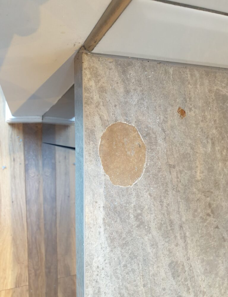 WORKTOP PAN BURN CHIP SCRATCH REPAIR MANCHESTER BEFORE