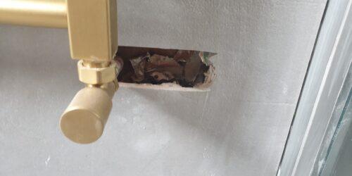 BATHROOM FLOOR WALL TILE DAMAGE CHIP CRACK SCREW HOLE REPAIR MANCHESTER BEFORE