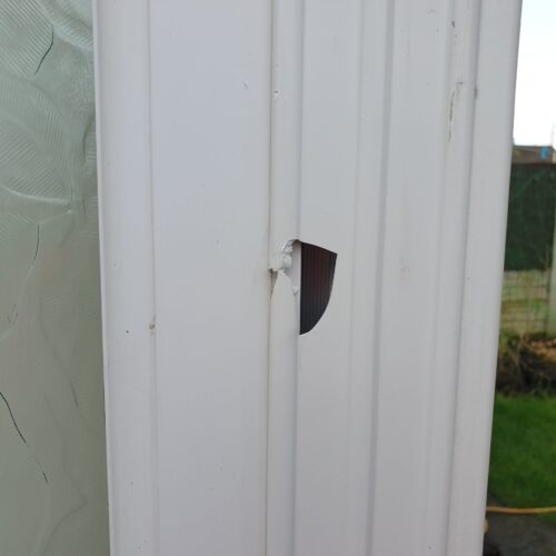 UPVC PLASTIC CONSERVATORY WINDOW DOOR FRAME CRACK CHIP SCRATCH DENT REPAIR MANCHESTER BEFORE