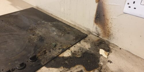 BADLY DAMAGED KITCHEN WORKTOP PAN BURN BEFORE