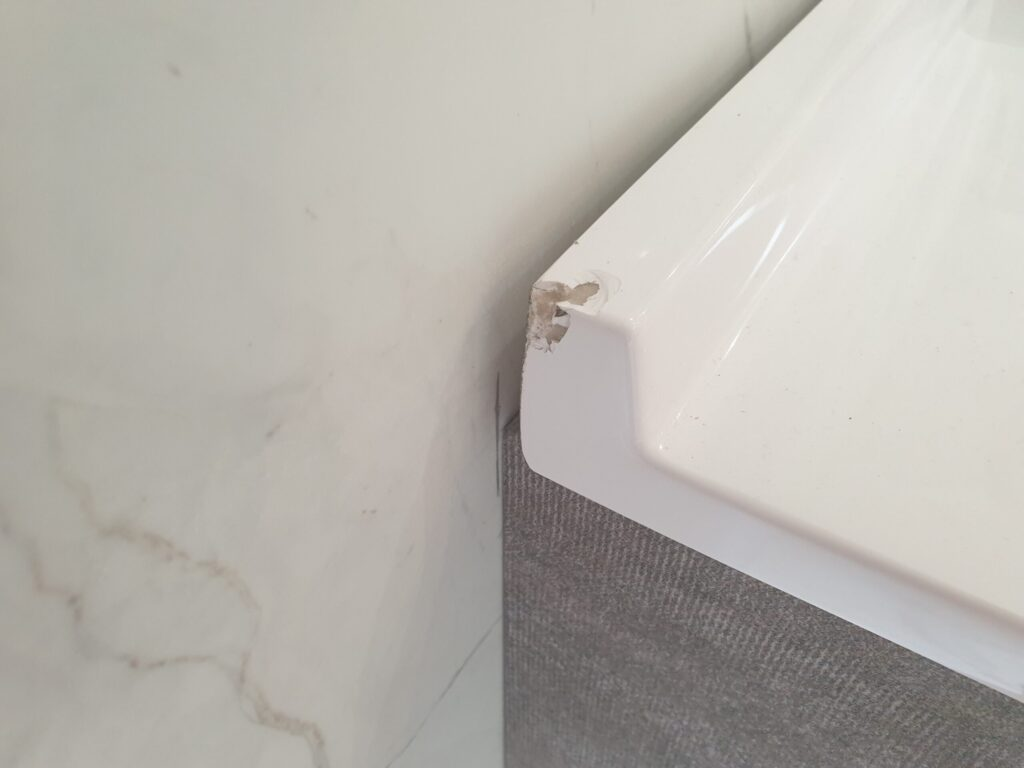 BATHROOM DOUBLE VANITY UNIT CHIP REPAIR BEFORE