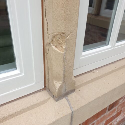 EXTERNAL STONE SILL CILL PILLAR REPAIR REFURBISHMENT BEFORE