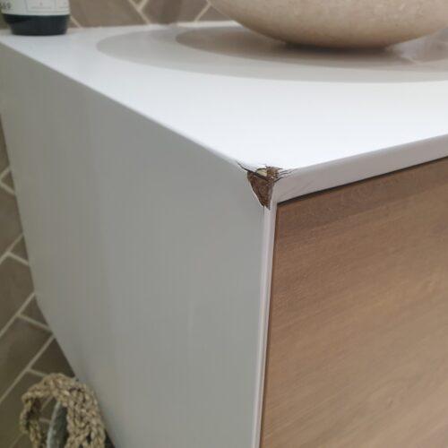 MATT WHITE BATHROOM VANITY UNIT CHIP SCRATCH DENT WATER DAMAGE REPAIR BEFORE