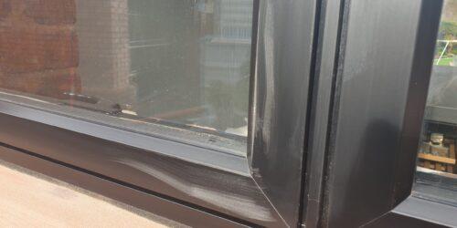 METAL POWDER COATED WINDOW FRAME SCRATCH REPAIR BEFORE