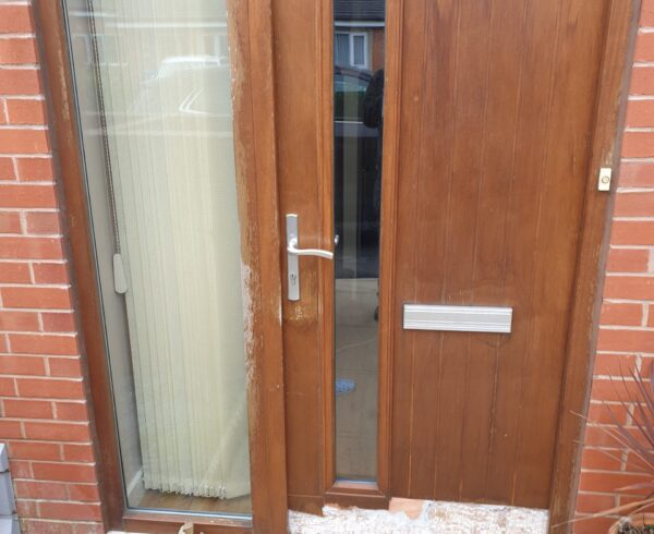 WOODEN FROnT DOOR SPRAY PAINTING DAMP REPAIR BEFORE