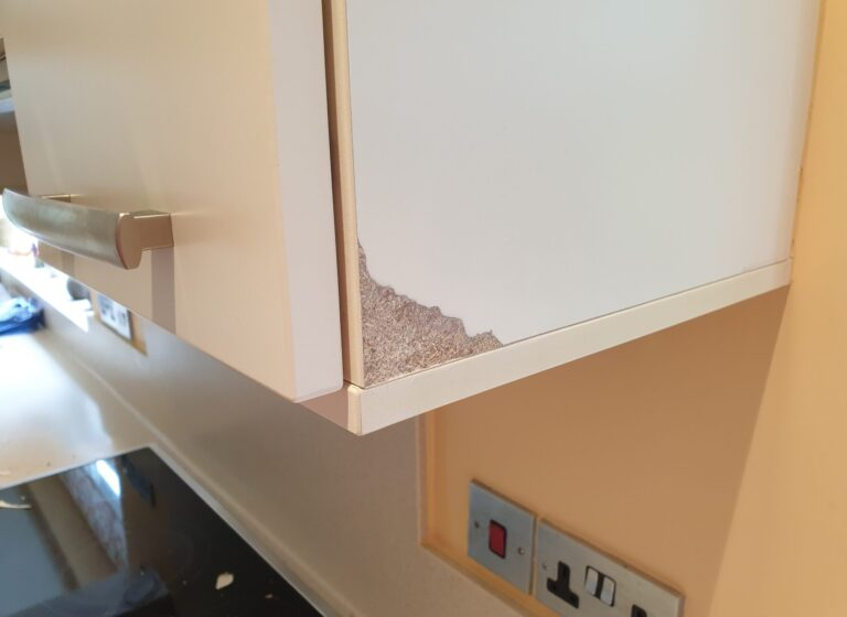 KITCHEN CUPBOARD WALL UNIT END PANEL SWOLLEN CHIP SCRATCH HEAT DAMAGE REPAIR BEFORE 1