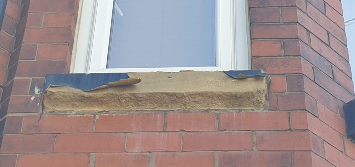CONCRETE SAND STONE WINDOW SILL CILL CRACK CHIP REPAIR REFURBISHMENT BEFORE 1