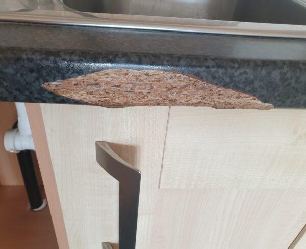 BADLY CHIPPED SCRATCH PAN BURN KITCHEN WORKTOP REPAIR AND REFURBISHMENT BEFORE